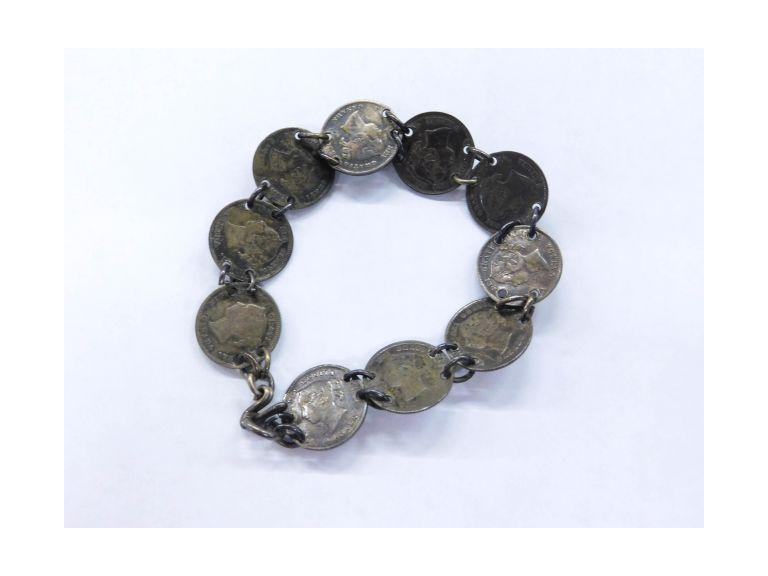 Antique Sterling Coin Bracelet