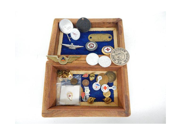 Wooden Box with Pins & More