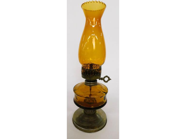 Amber Glass Oil Lamp