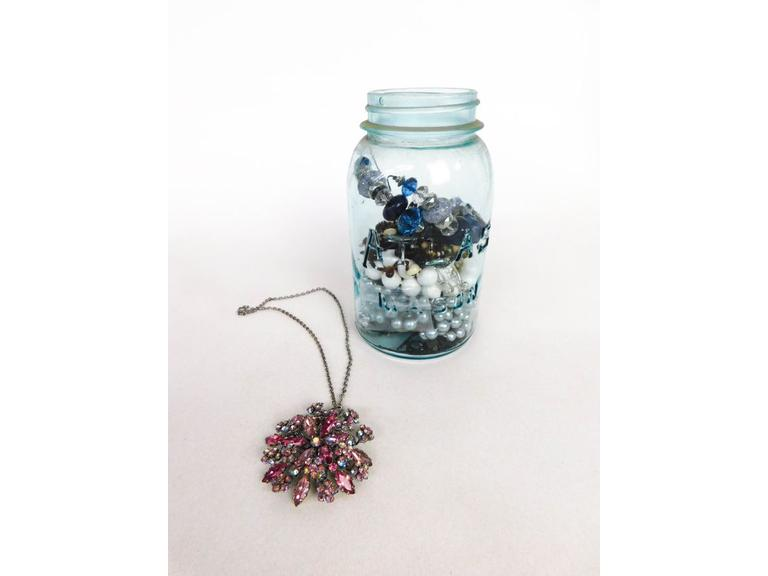Ball Atlas Jar with Costume Jewelry