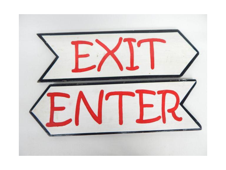 Wooden Enter Exit Signs