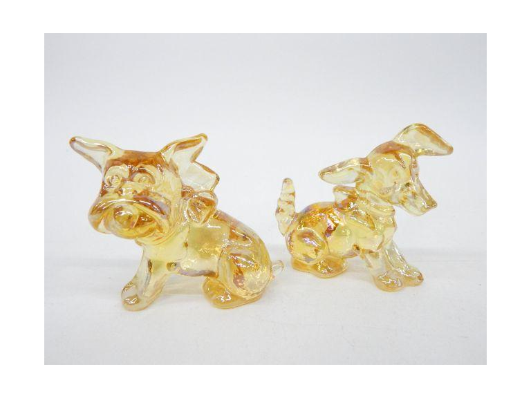Carnival Glass Dog Paperweights