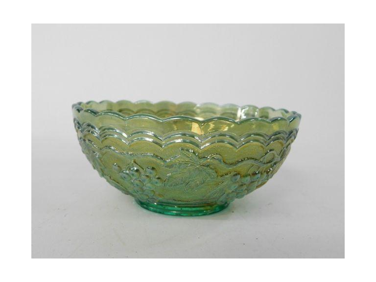 Green Carnival Glass Bowl
