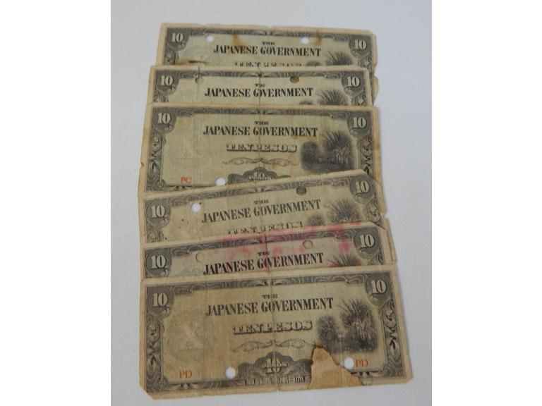 WW2 Era Japanese Tenpeso Notes