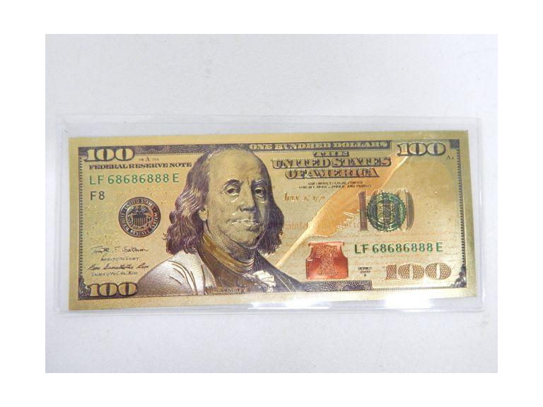 Gold Foil U.S. 100 Dollar Bill