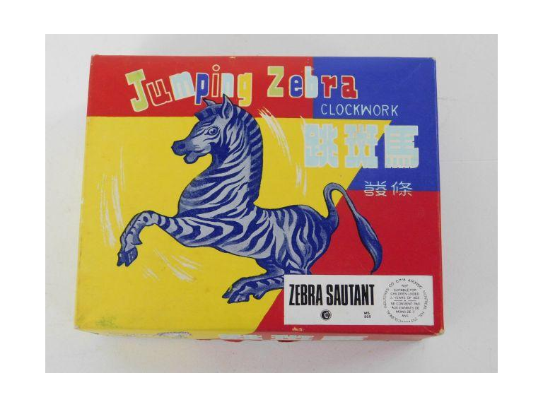 Jumping Zebra Wind-Up Tin Toy