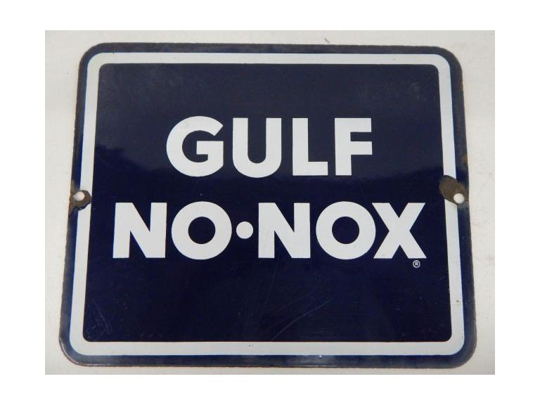 Gulf No-Nox Porcelain Sign