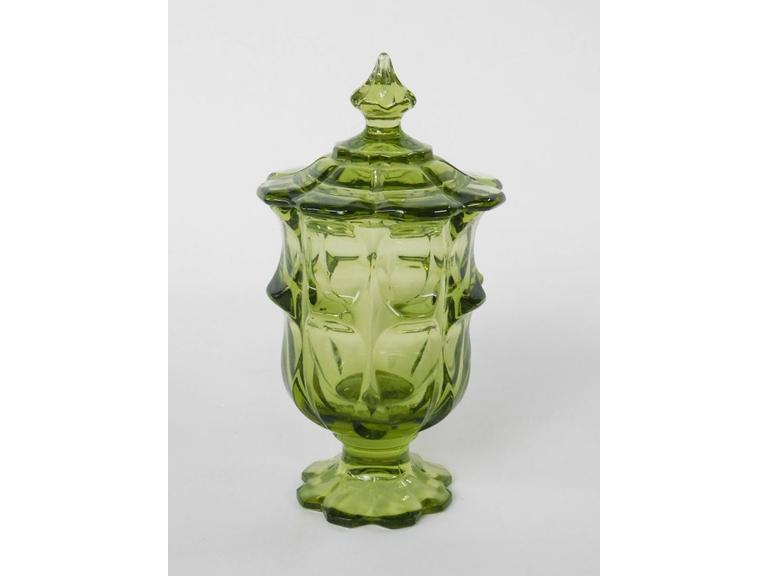 Green Glass Lidded Jar