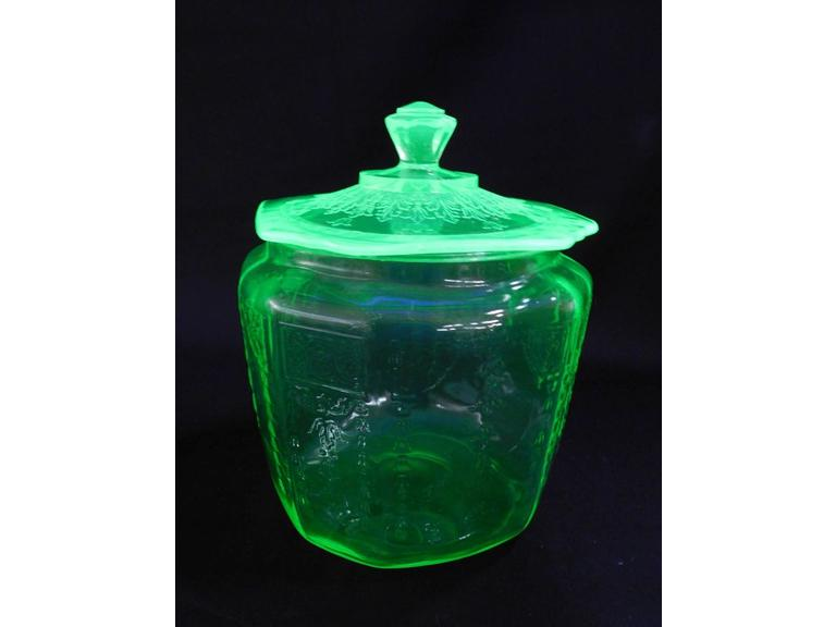 Green Depression Cracker Jar