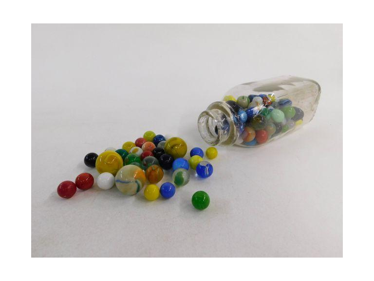 Milk Bottle Full of Old Marbles