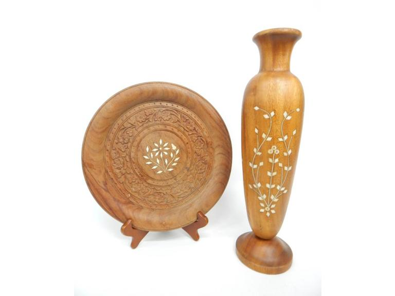 Inlaid Mother of Pearl Wooden vase and Plate