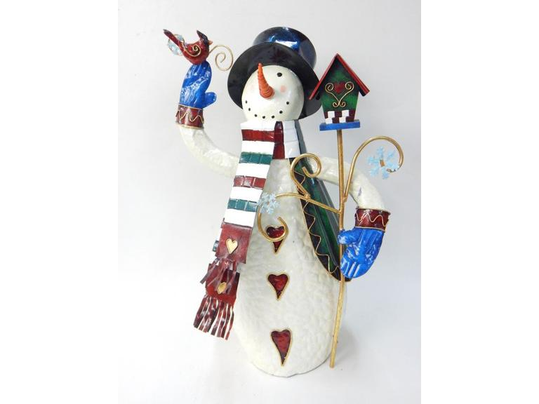 Tall Metal Art Snowman Figure