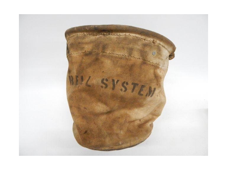 Vintage Canvas Bell Systems Work Bucket