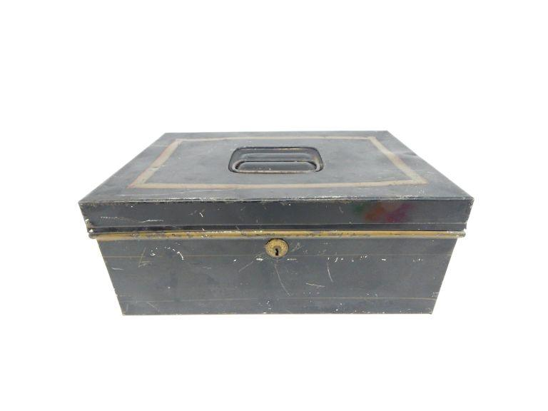 Antique Metal Lock Box & Key