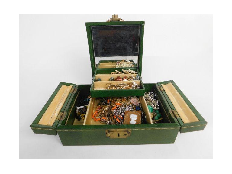 Vintage Costume Jewelry w/Dresser Box
