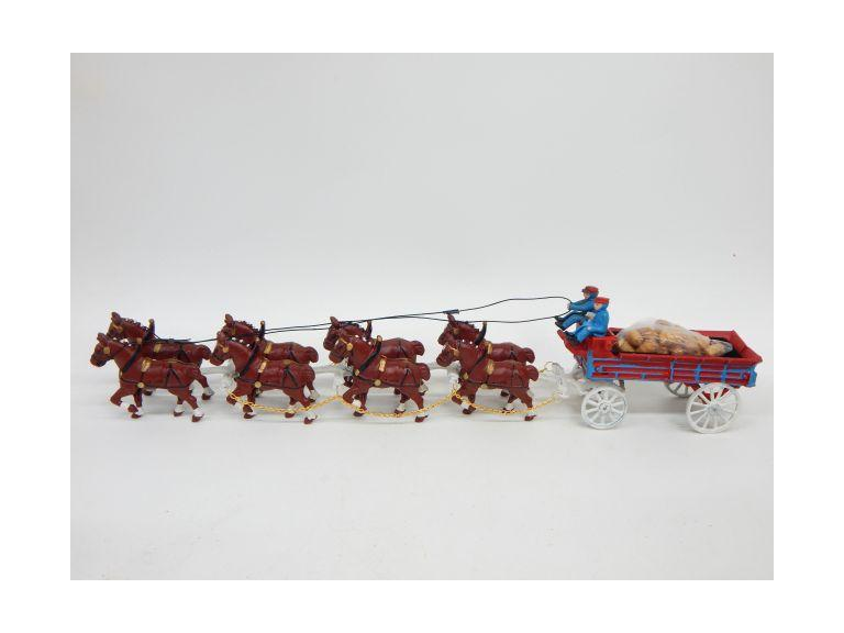 Long Cast Iron Horse and Wagon