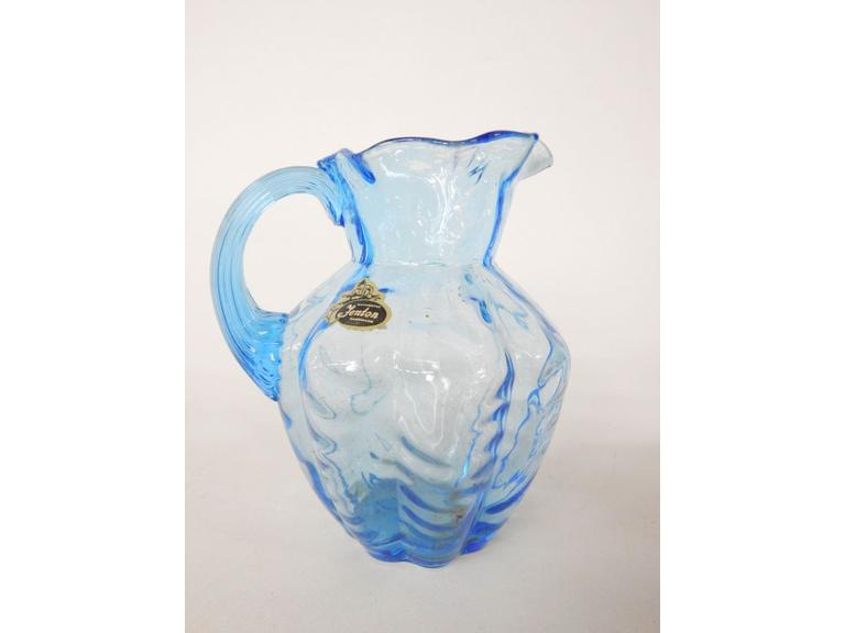 Fenton Blue Drape Glass Pitcher