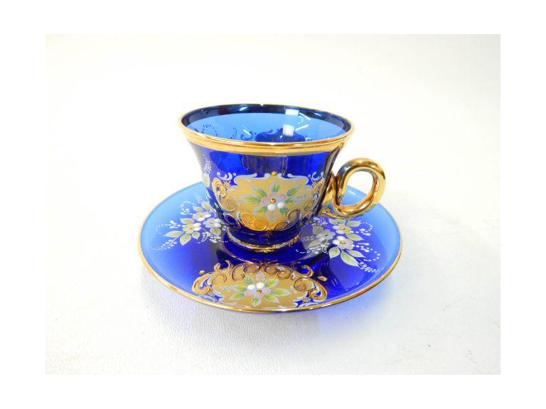 Cobalt Blue hand painted Teacup & Saucer