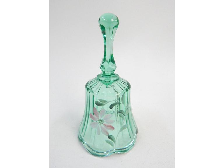 Fenton Green Glass painted Bell
