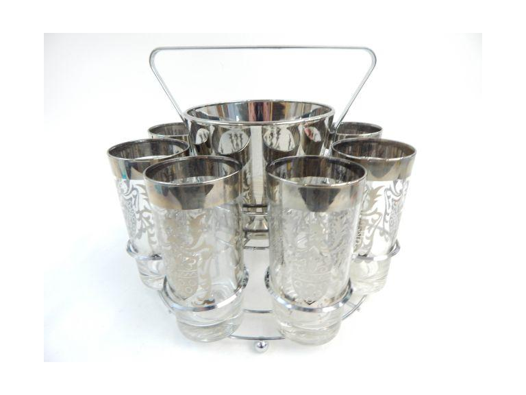 Silver Trimmed Glass & Ice Bucket Set