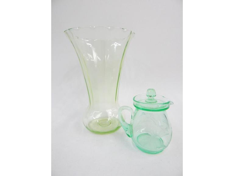 Tall Green Vase and Small Green Creamer