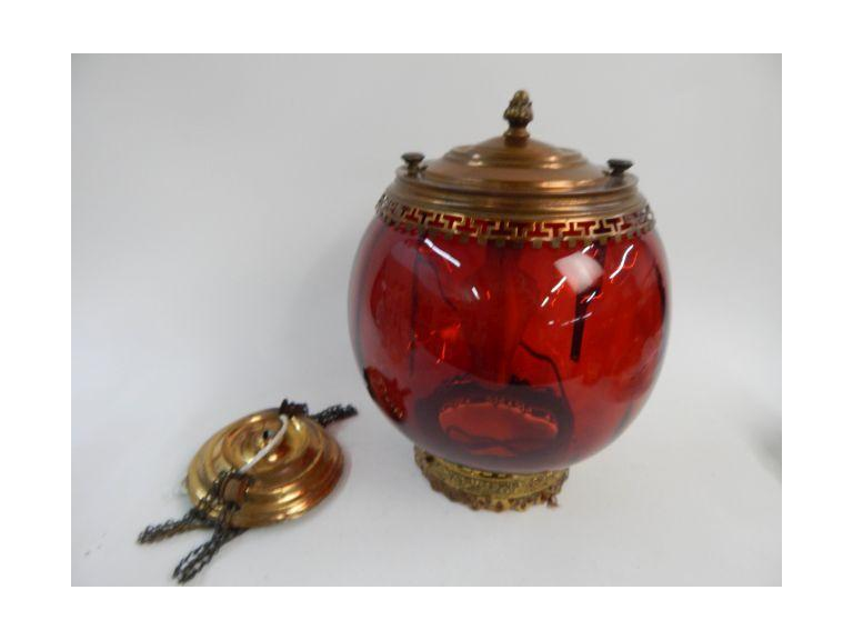 Vintage Red Globe Light Fixture