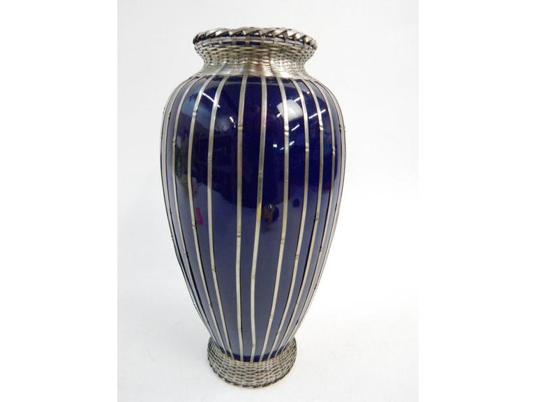 Decorative Ceramic Vase with Metal Strapping