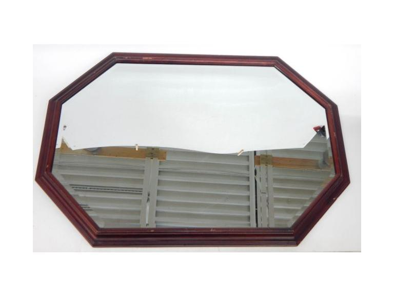 Beveled Glass Wood Framed Mirror
