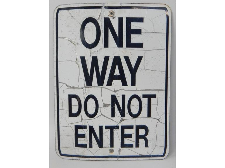 Old One Way Metal Sign