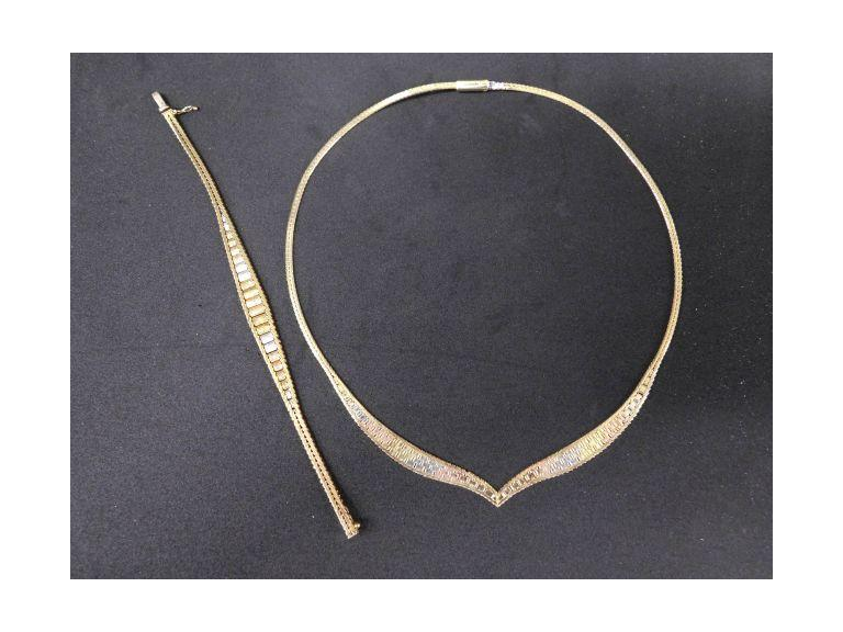 14k Italian Gold Necklace & Bracelet Set