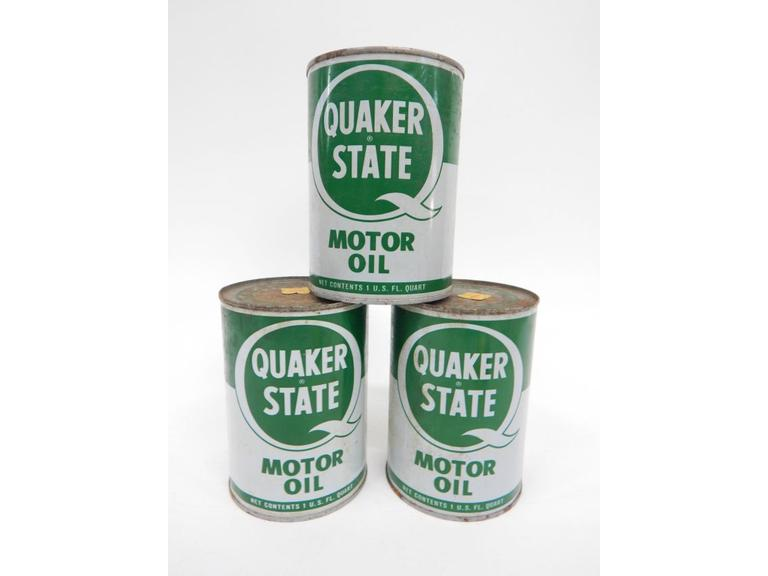Quaker State Tin Oil Cans
