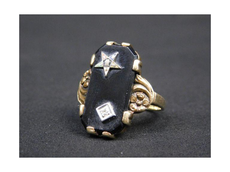 Ladies 10k Gold, Plus - Sterling, Diamond and Black Onyx Eastern Star Ring