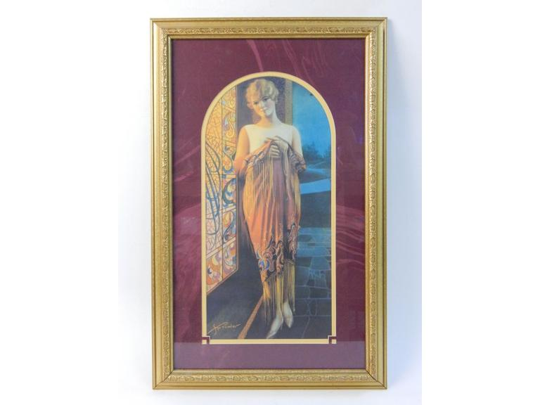 Vintage Lithograph Classic Lady Print