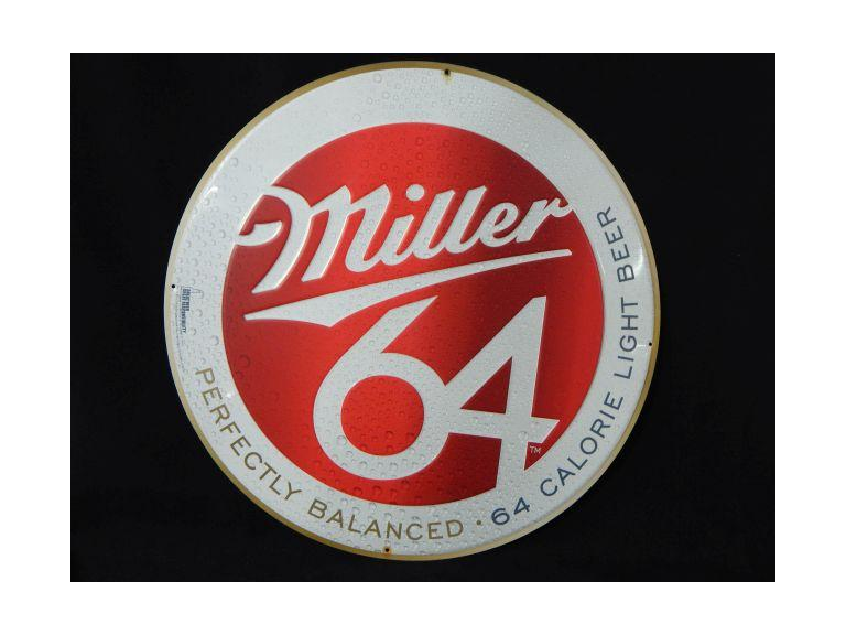 Miller 64 Embossed Metal Sign