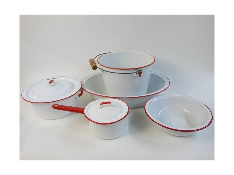 Red & White Enamelware Dishes