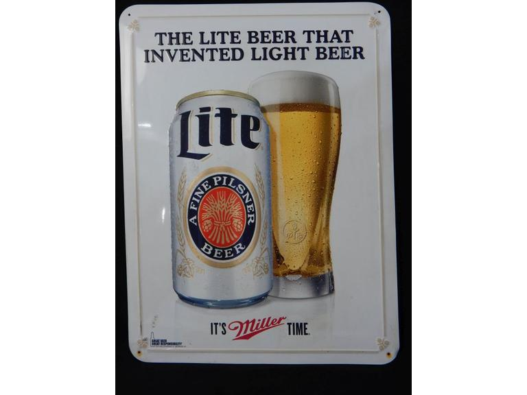 Miller Light Embossed Metal Sign