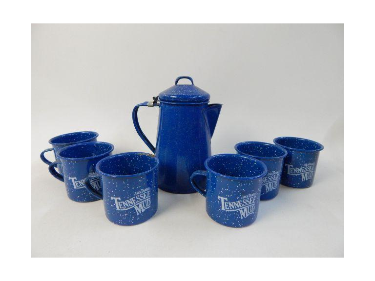 Enamelware Coffee Pot and Mugs