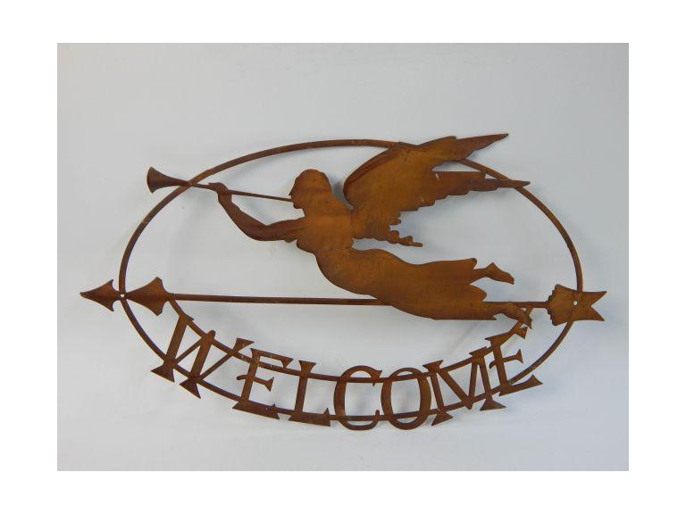 Metal Art Angel Welcome Sign