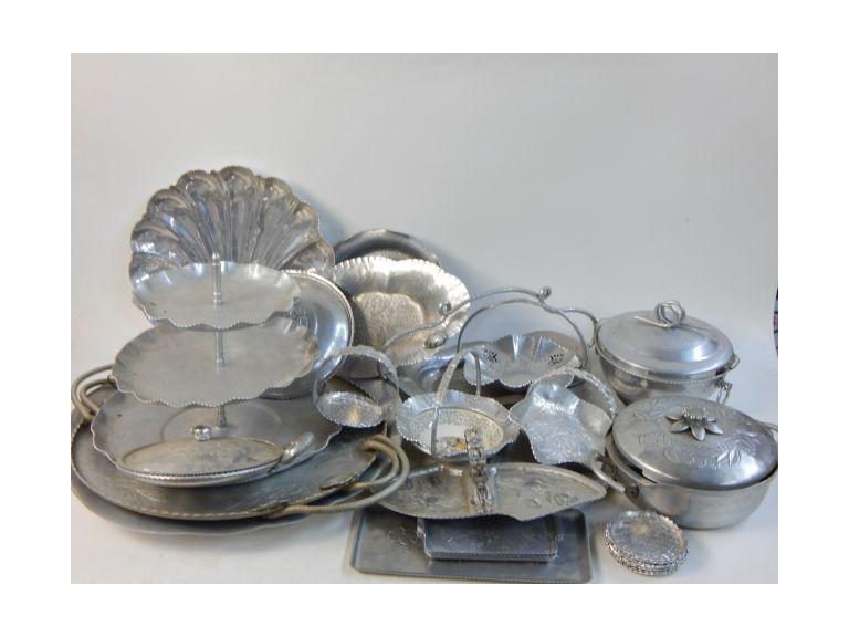 Collection of Vintage Hammered and Embossed Aluminum Serving Dishes