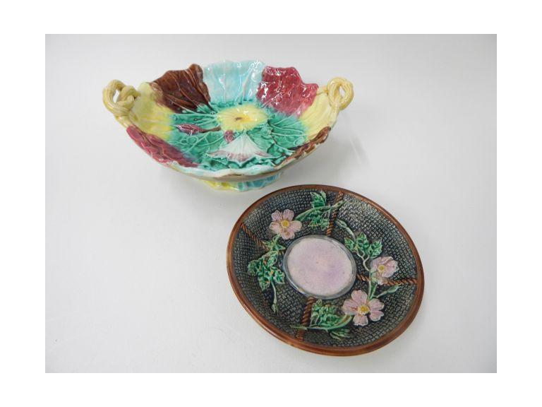 Majolica Ware Hand Painted Bowl and Plate