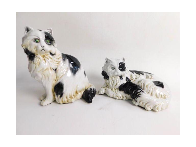 2 Italian Signed Porcelain Cats