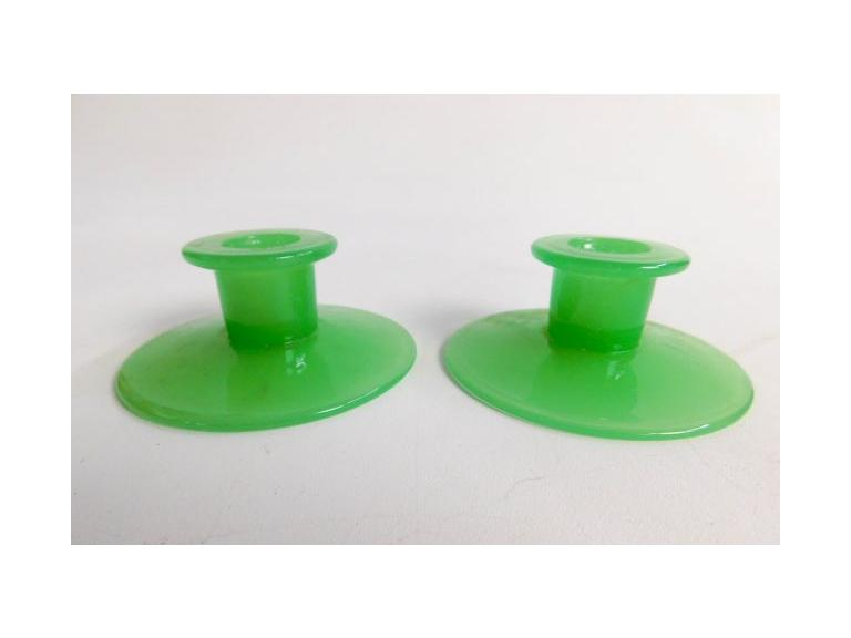 Pair of Jadeite Candle Holders