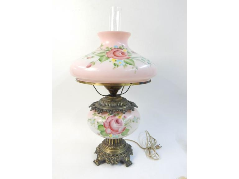 Hand Painted Glass Parlor Lamp
