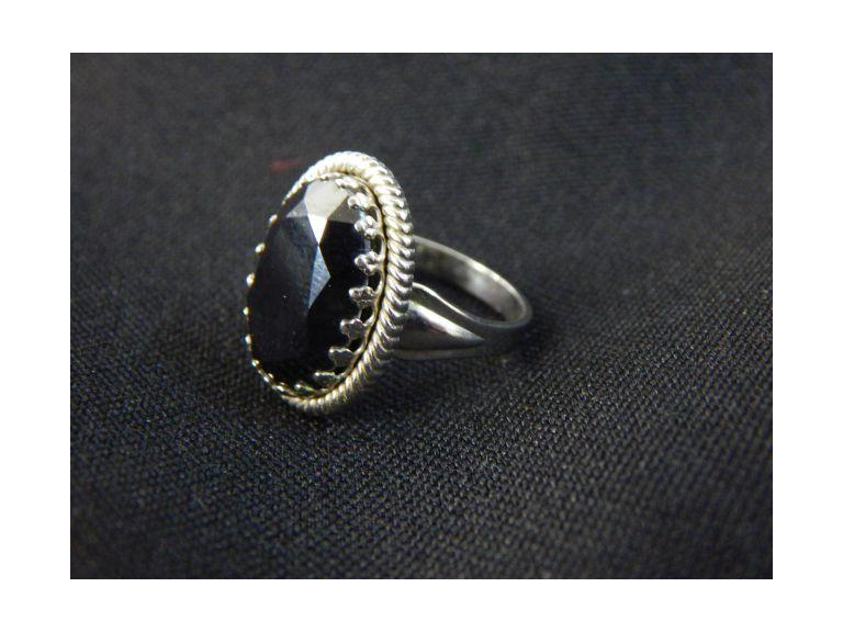 Sterling & Black Stone Ring