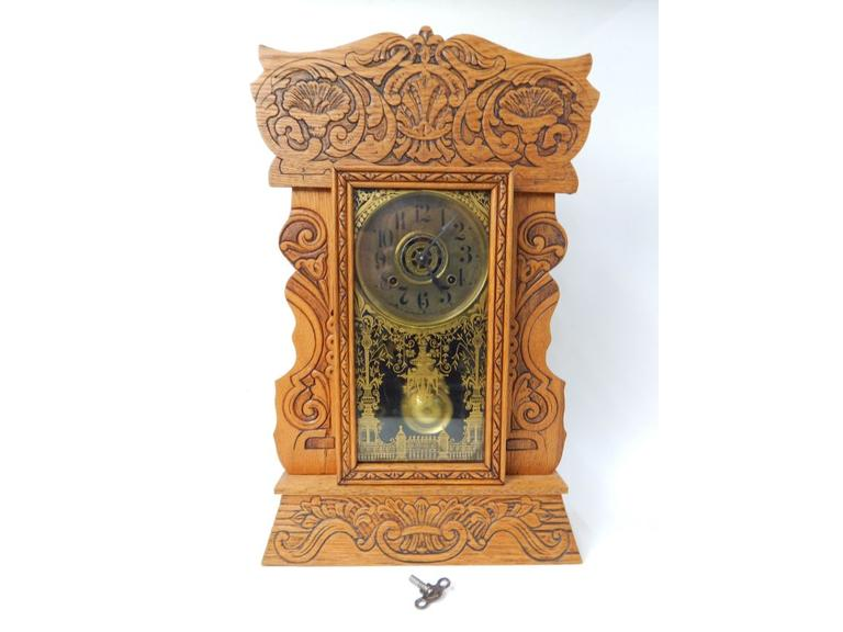 Antique New Haven Gingerbread Mantle Clock