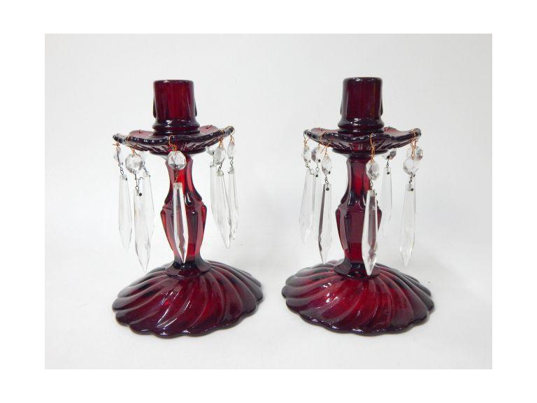 Ruby Red Glass Candle Holders