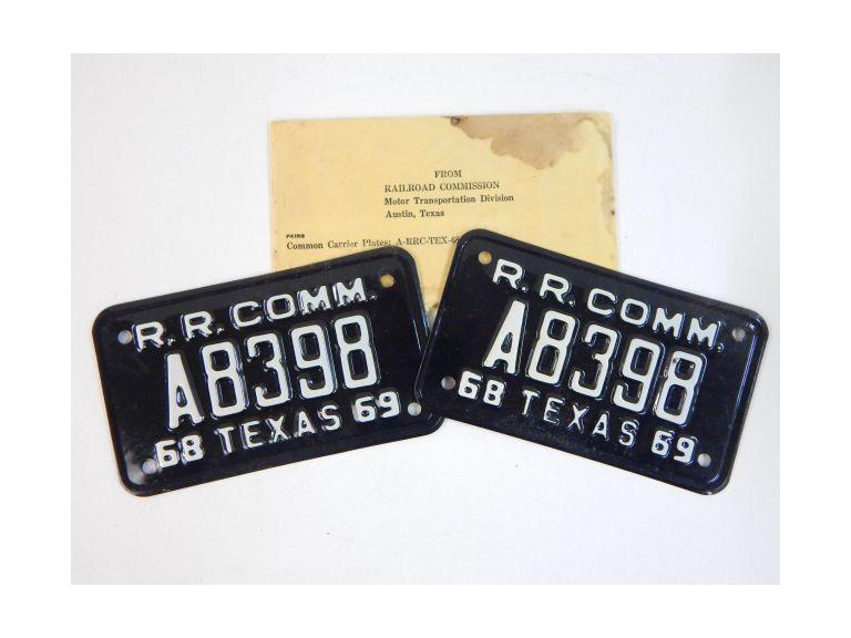 1969 Railroad Commission Texas License Plates