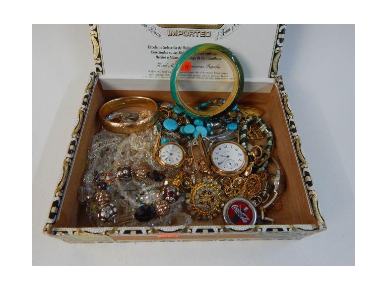 Collection of Old Costume Jewelry and Gold Filled Pocket Watches