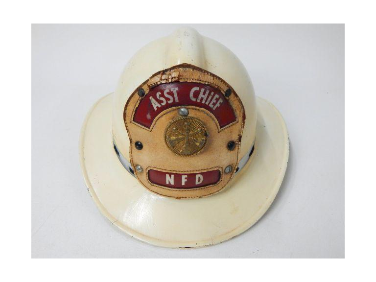 Asst Chief Fireman's Hat with Leather Badge