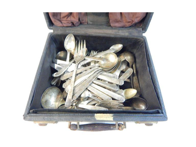 Case of Old Silver-Plate Flatware